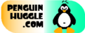 PenguinHuggle.com - Logo - flipper shape with Penguin and domain name in orange, white, and blue-green gradient